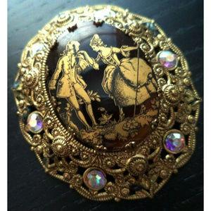 vintage Germany cameo brooch pin black rhinestone